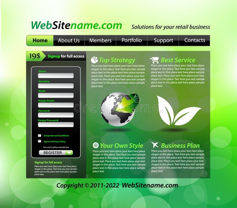 вебсайт зеленого шаблона eco опирающийся на определённую тему иллюстрация вектора