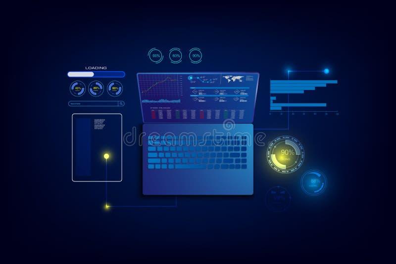 Вебсайт интернета творения отзывчивый для множественных платформ Строя мобильный интерфейс на экране ноутбука, иллюстрации вектор иллюстрация вектора