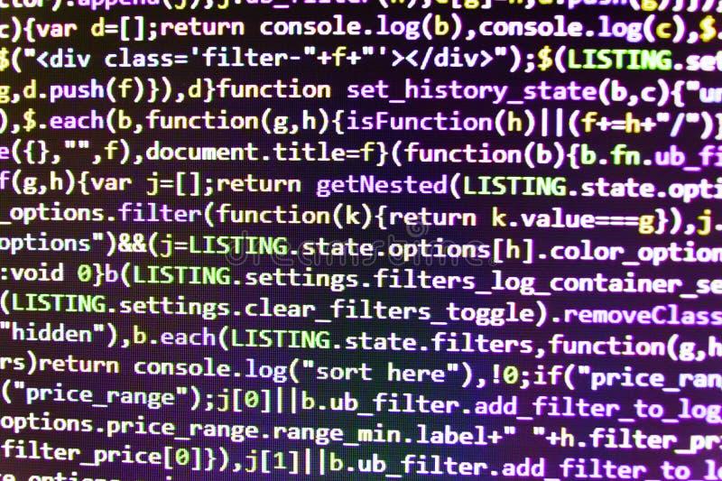 Вебсайт информационной технологии кодируя стандарты для исходного кода программного обеспечения веб-дизайна Фото крупного плана т стоковые фото