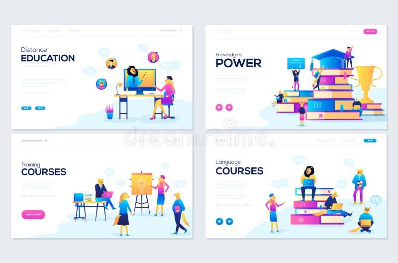 Вебсайт и мобильные концепции иллюстрации развития вебсайта Установите шаблонов дизайна интернет-страницы для советовать с, трени иллюстрация вектора