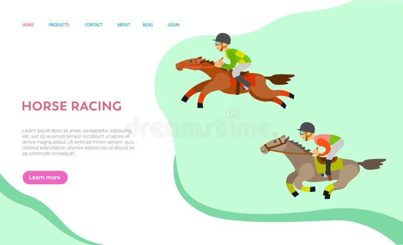 Вебсайт лошадиных скачек с текстом, Equine спорт иллюстрация штока