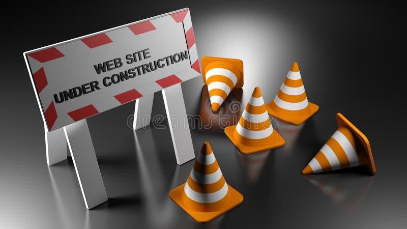 Вебсайт под знаком с конусами движения - конструкции переводом 3D бесплатная иллюстрация