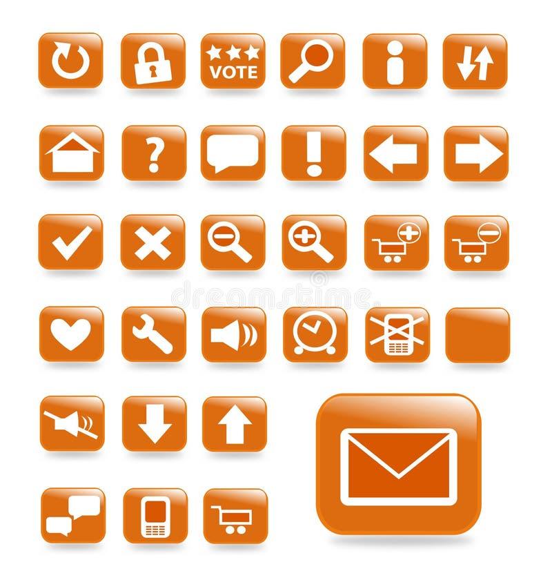 вебсайт померанца кнопки установленный иллюстрация штока