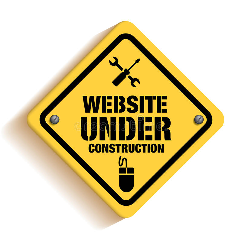 Вебсайт под конструкцией подписывает внутри белое Backgroun иллюстрация вектора