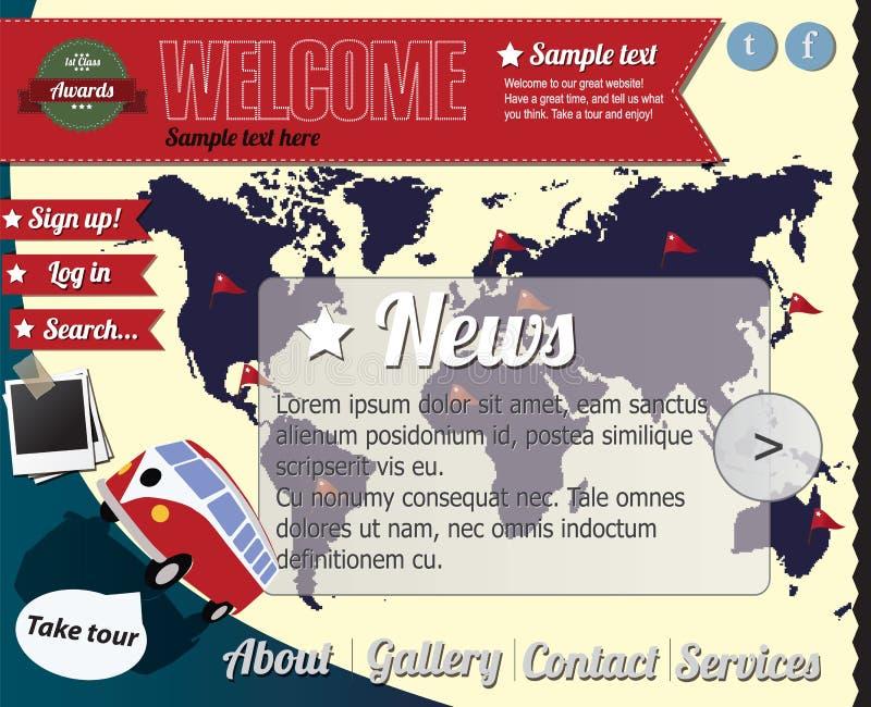 вебсайт сбора винограда шаблона типа элементов иллюстрация вектора