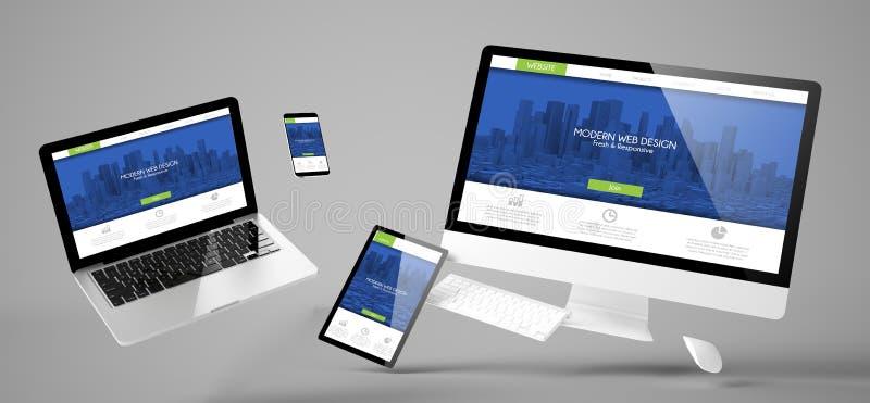 вебсайт современного дизайна приборов летания отзывчивый стоковое фото
