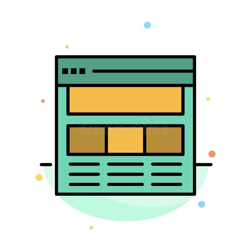 Вебсайт, страница, интерфейс, сеть, онлайн абстрактный плоский шаблон значка цвета иллюстрация штока