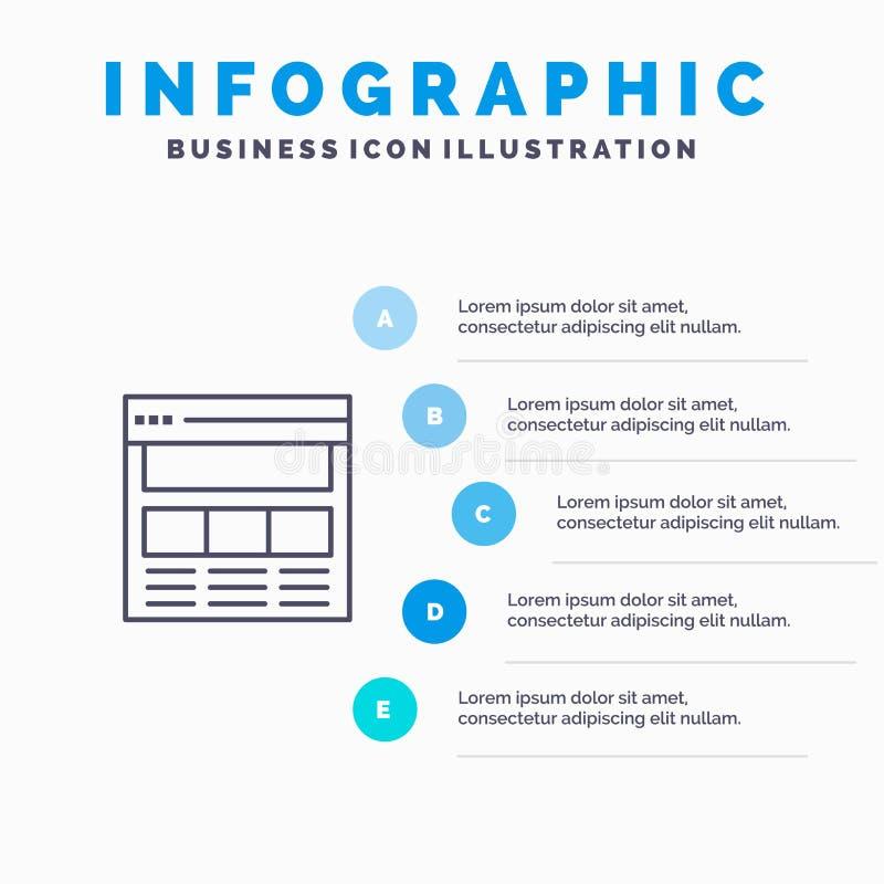 Вебсайт, страница, интерфейс, сеть, онлайн линия значок с предпосылкой infographics представления 5 шагов бесплатная иллюстрация