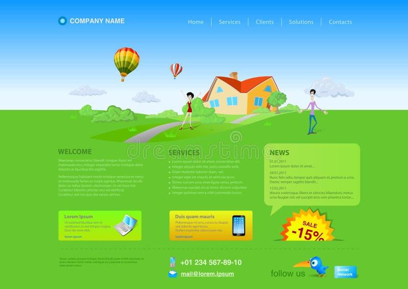 вебсайт шаблона недвижимости сельской местности иллюстрация вектора