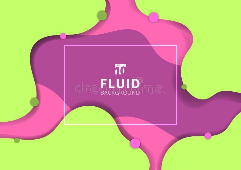 Веб-дизайна знамени стиля конспекта предпосылка жидкого динамического зеленая и розовая яркая цвета Творческая жидкость для плака иллюстрация вектора