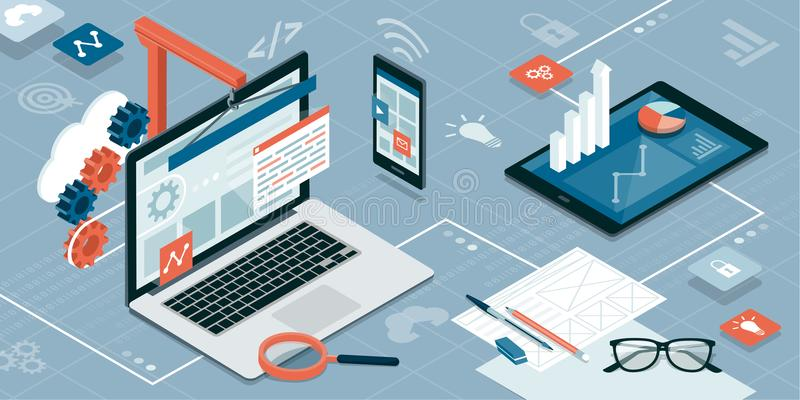 Веб-дизайн и развитие бесплатная иллюстрация