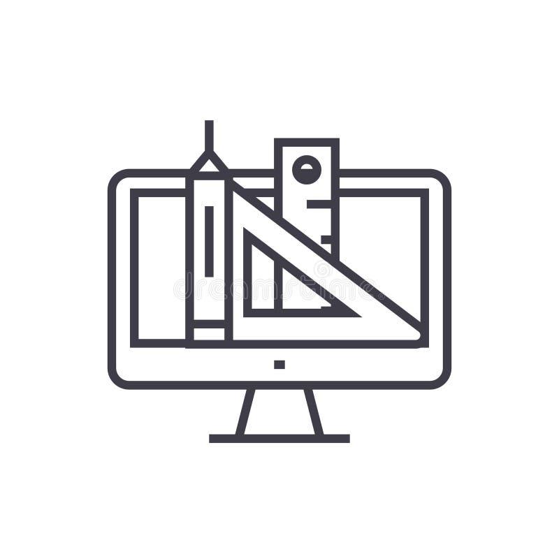 Веб-дизайн, ручка, правитель, оборудует линию значок вектора концепции тонкую, символ, знак, иллюстрацию на изолированной предпос иллюстрация вектора