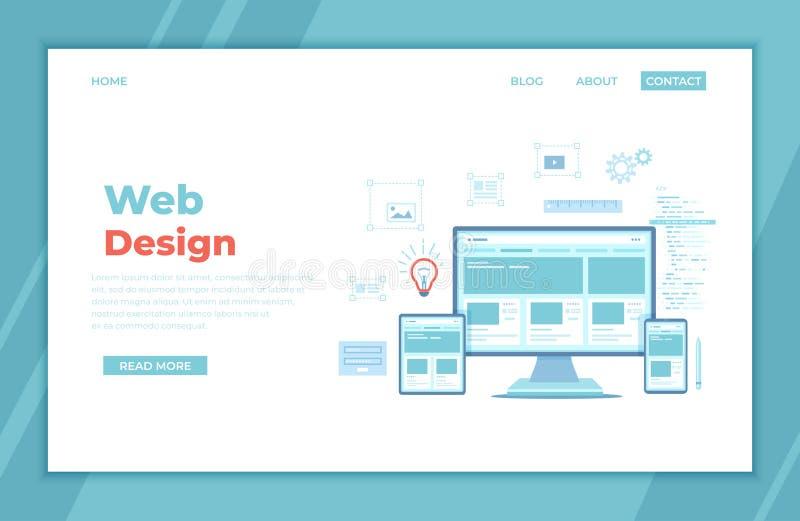 Веб-дизайн Шаблон вебсайта для монитора, ноутбука, планшета, телефона Элементы для черни и веб-приложений Пользовательский интерф иллюстрация вектора
