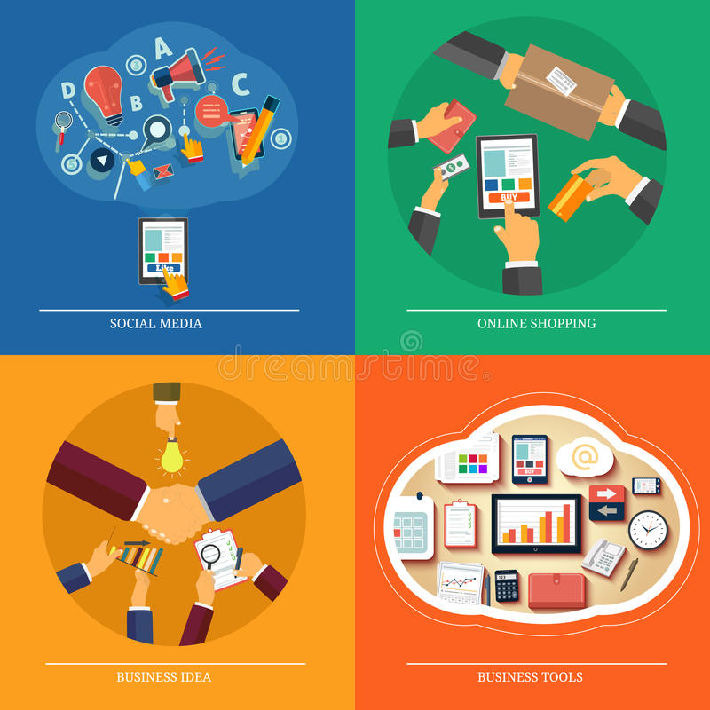 Веб-дизайн, seo, социальные средства массовой информации, онлайн покупки иллюстрация штока