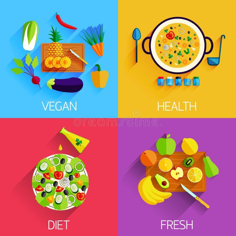 Вегетарианская еда, еда диеты, свежих и здоровых и иллюстрация штока