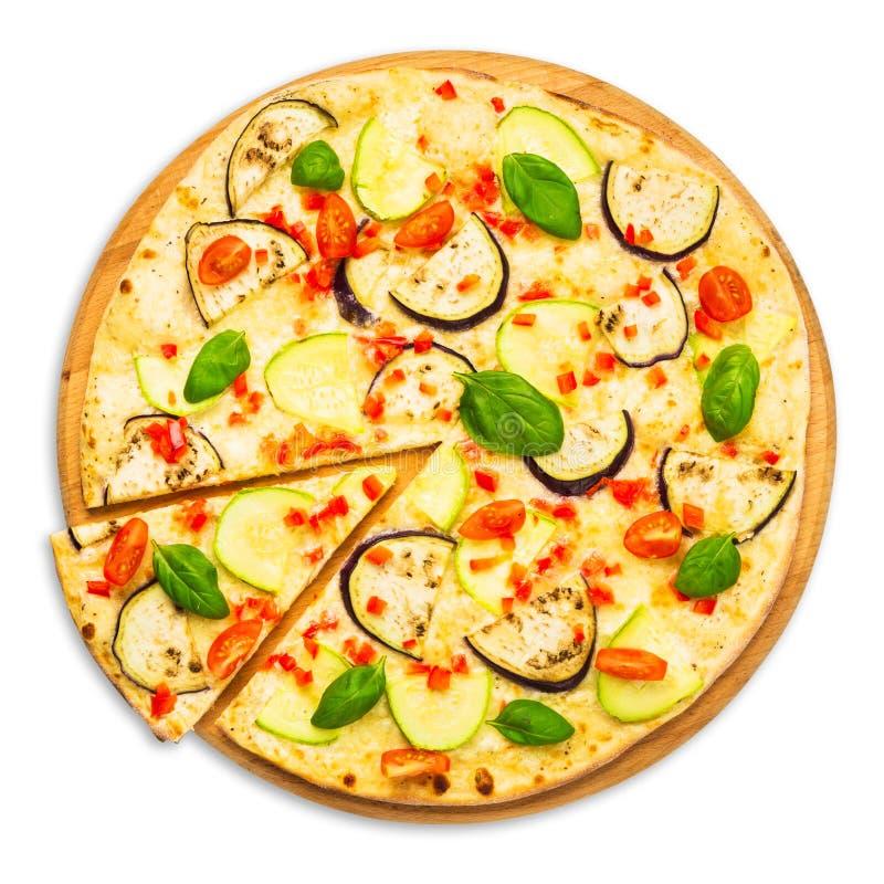 Вегетарианская пицца с aubergines и цукини стоковая фотография