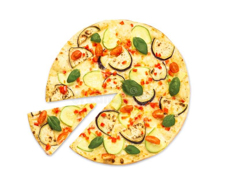 Вегетарианская пицца с aubergines и цукини стоковое изображение rf