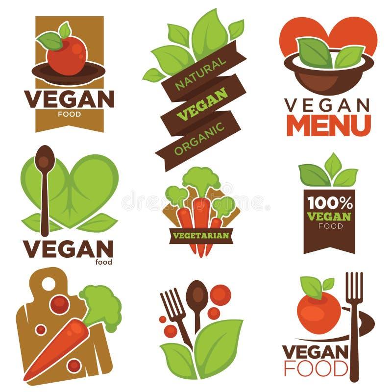 Вегетарианские шаблоны значков вектора меню кафа установили овощей и лист сердца vegan иллюстрация вектора