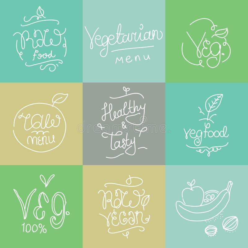 Вегетарианские ярлыки еды Элементы нарисованные рукой типографские Кухня Vegan Сырцовая еда иллюстрация штока