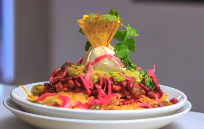 Вегетарианские Nachos сметана фасолей, гуакамоле стоковое изображение