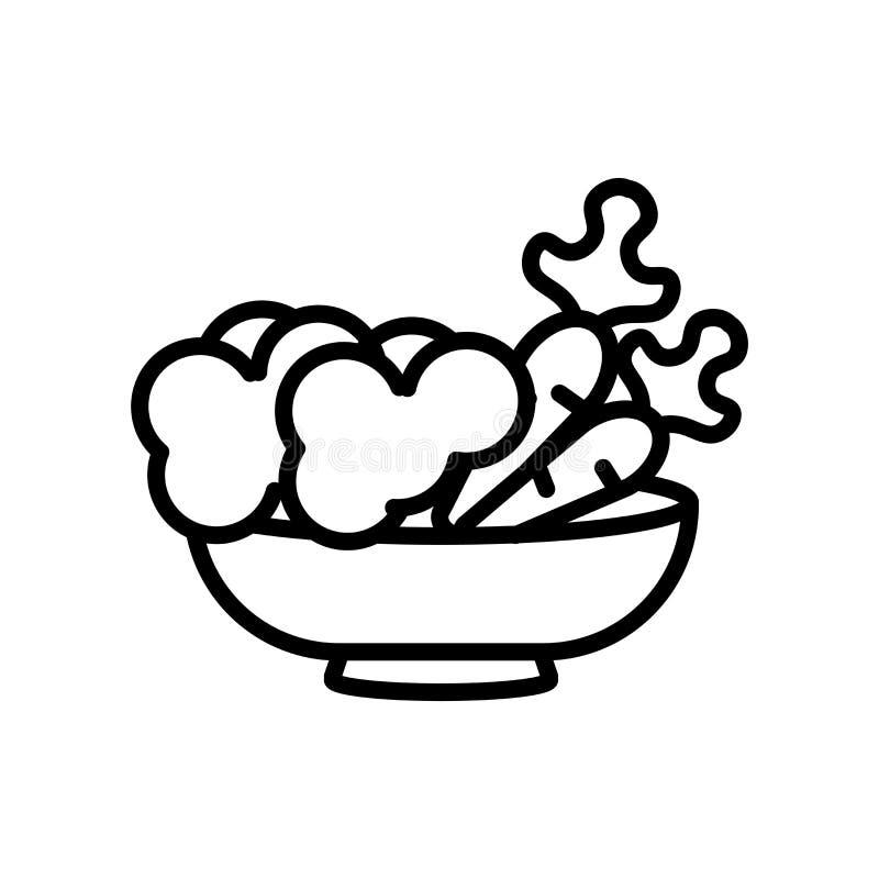 Вегетарианский вектор значка еды изолированный на белой предпосылке, вегетарианском знаке еды, линии или линейном знаке, дизайне  иллюстрация штока