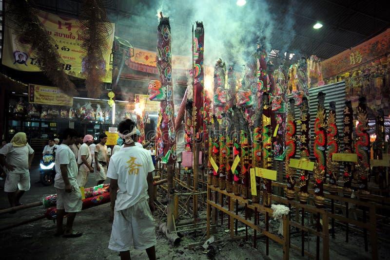 Вегетарианский фестиваль в Таиланде, Talad Noi, Yaowarat или Бангкоке стоковые фото