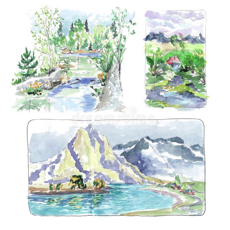 Вегетация леса реки горы - эскиз акварели иллюстрация штока