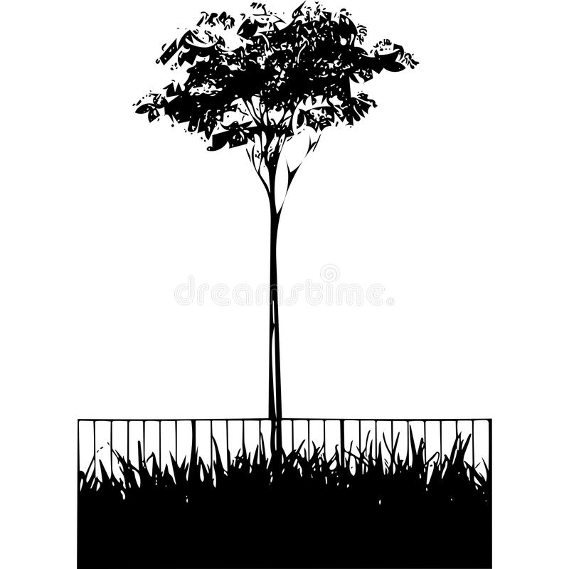 Вегетация около загородки иллюстрация вектора