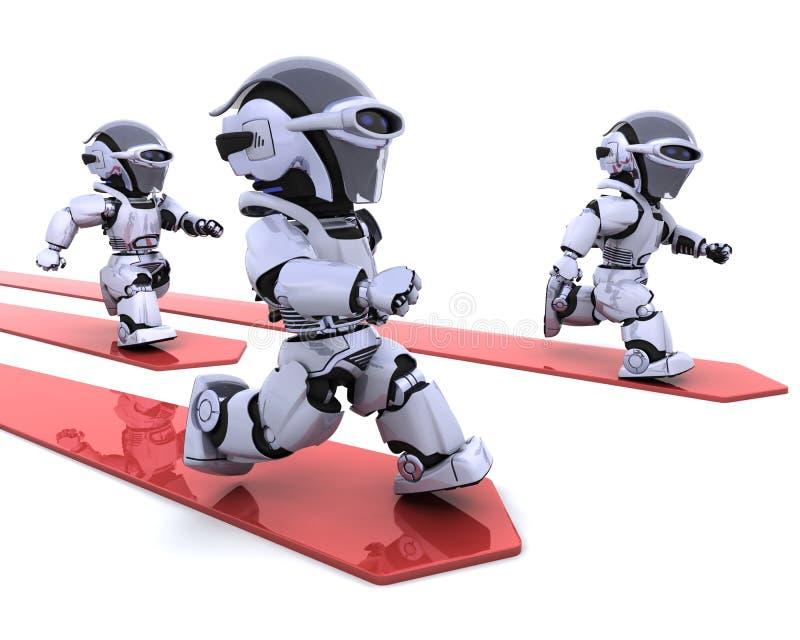 ведущие роботы гонки иллюстрация вектора