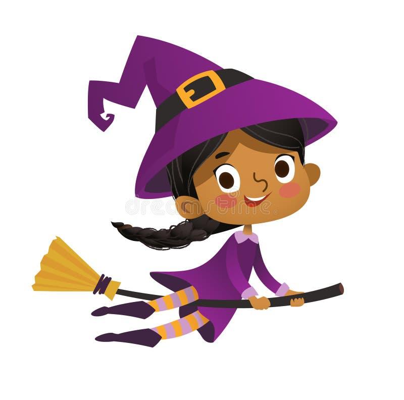 Ведьма Афро-американского летания хеллоуина маленькая Ребенк девушки в костюме хеллоуина летая над луной Ретро год сбора виноград иллюстрация штока