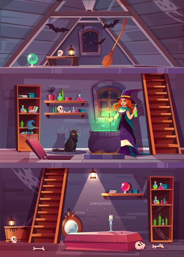 Ведьма в доме с погребом, чердаком вектор иллюстрация вектора