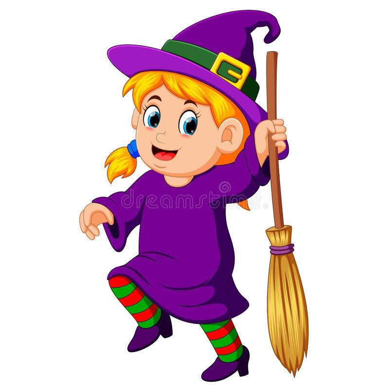 Ведьма девушки с веником бесплатная иллюстрация