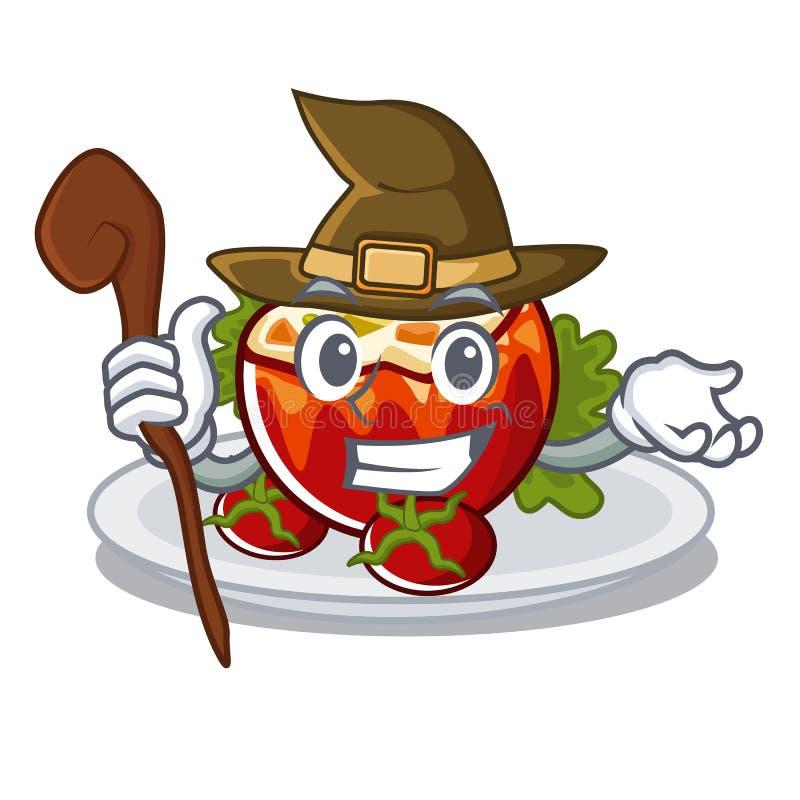 Ведьма заполнила томаты на доске мультфильма бесплатная иллюстрация