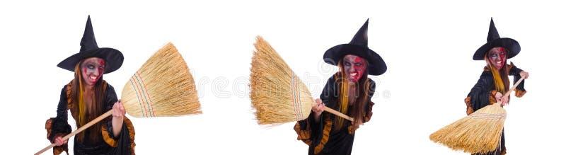 Ведьма изолированная на белой предпосылке стоковое изображение