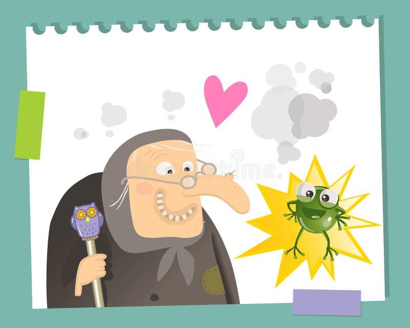 ведьма лягушки смешная иллюстрация вектора