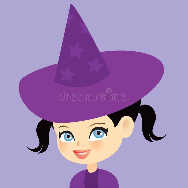 ведьма милой девушки маленькая иллюстрация вектора