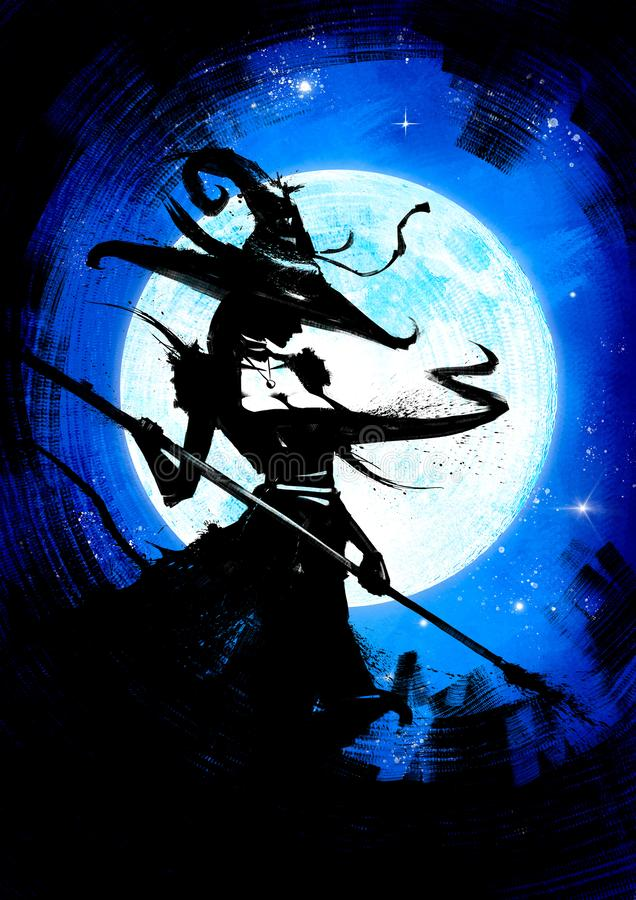 Ведьма со штатом в шляпе иллюстрация вектора