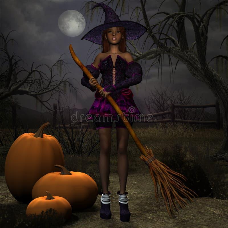 ведьма тыквы иллюстрация штока