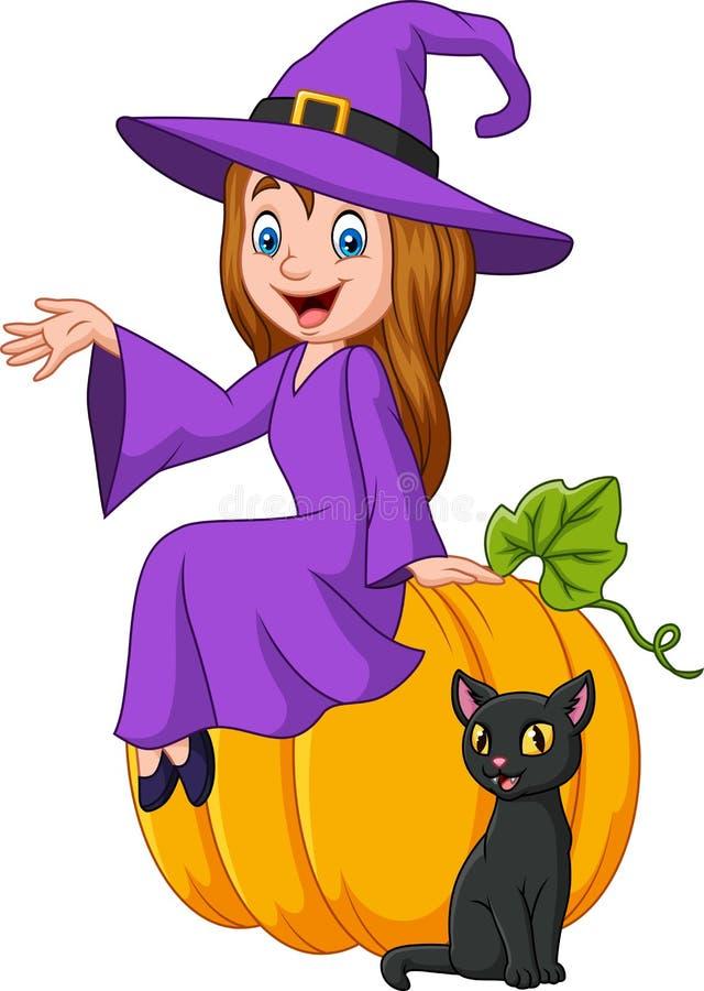Ведьма шаржа маленькая сидя на тыкве хеллоуина с черным котом бесплатная иллюстрация