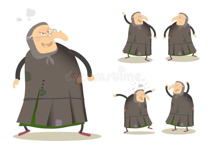 ведьма шаржа иллюстрация штока