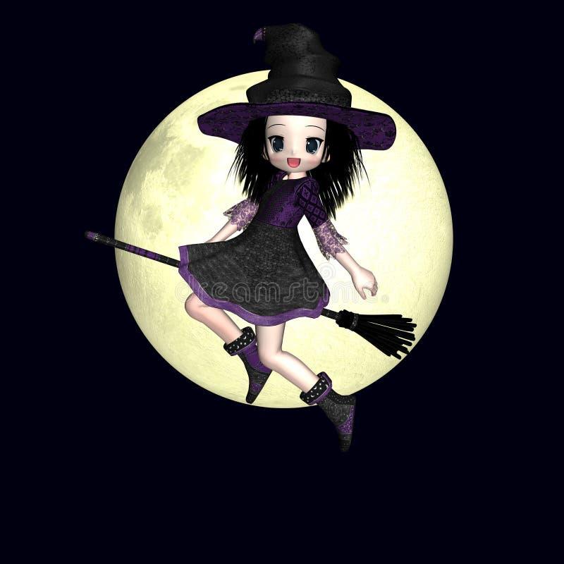 ведьма anime 3 иллюстрация вектора
