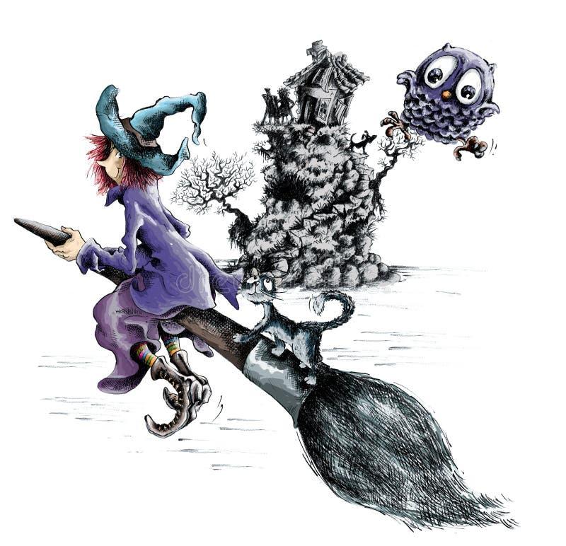 ведьма broomstick стоковая фотография