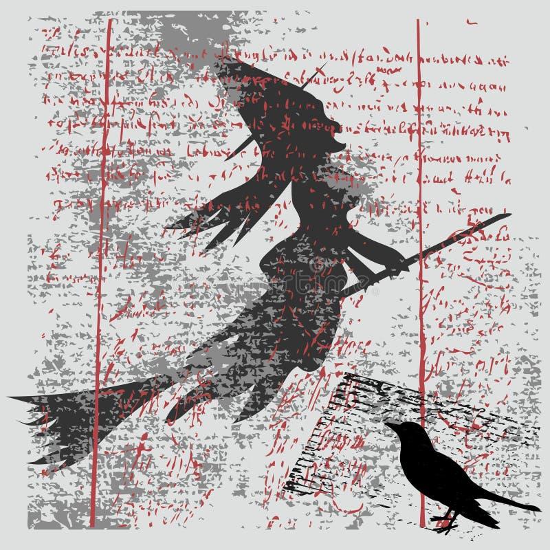 ведьма grunge предпосылки иллюстрация вектора