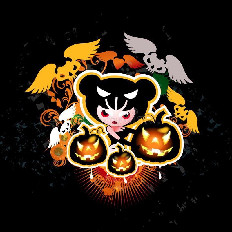 Ведьма Halloween с тыквами и летучими мышами иллюстрация вектора