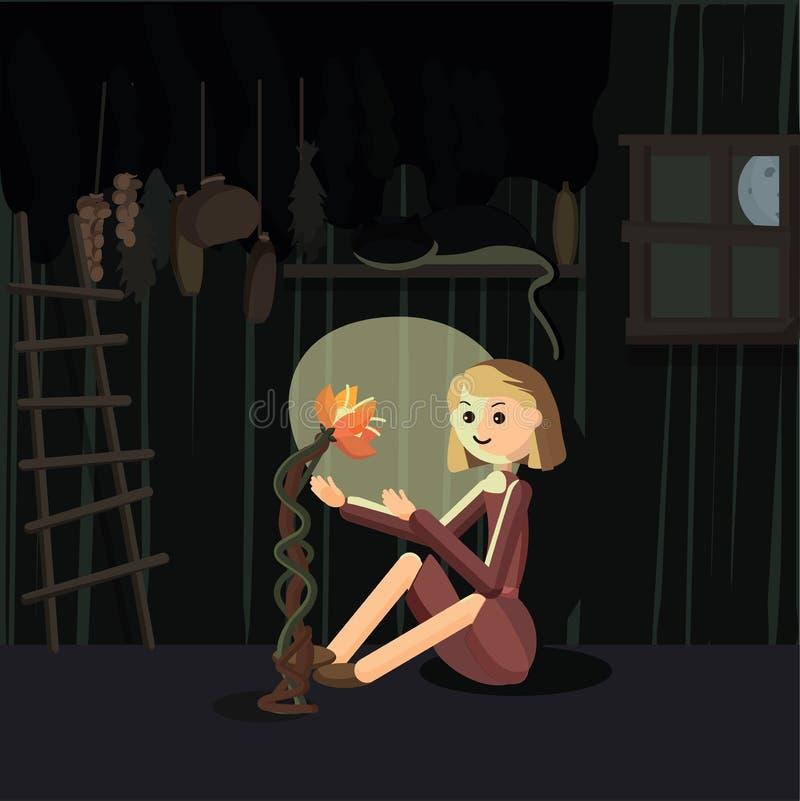 Ведьма Yung в хате бесплатная иллюстрация