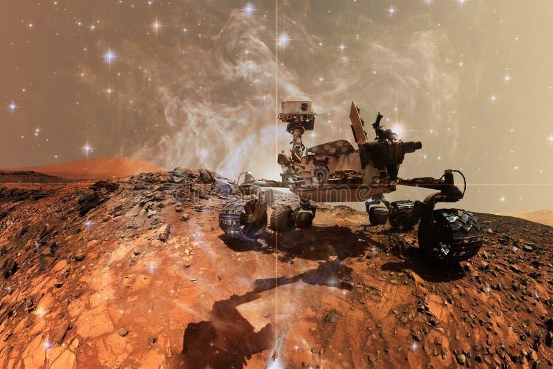 Вездеход Марса любопытства исследуя поверхностную планету Марса иллюстрация штока