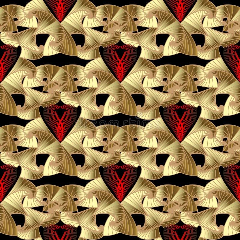 Вектора золота 3d конспекта картина современного орнаментального безшовная Греческая ключевая текстурированная предпосылка Красны иллюстрация штока