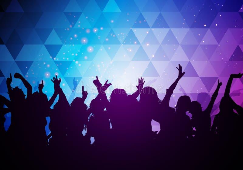 Вектора иллюстрации толпы партии молодые люди предпосылки танцев иллюстрация вектора