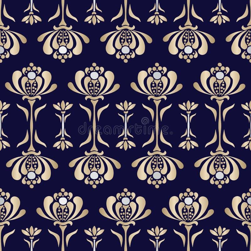 Вектора лилий воды стиля барокко золота картина Lacey стилизованного безшовная Флористическая роскошная предпосылка бесплатная иллюстрация