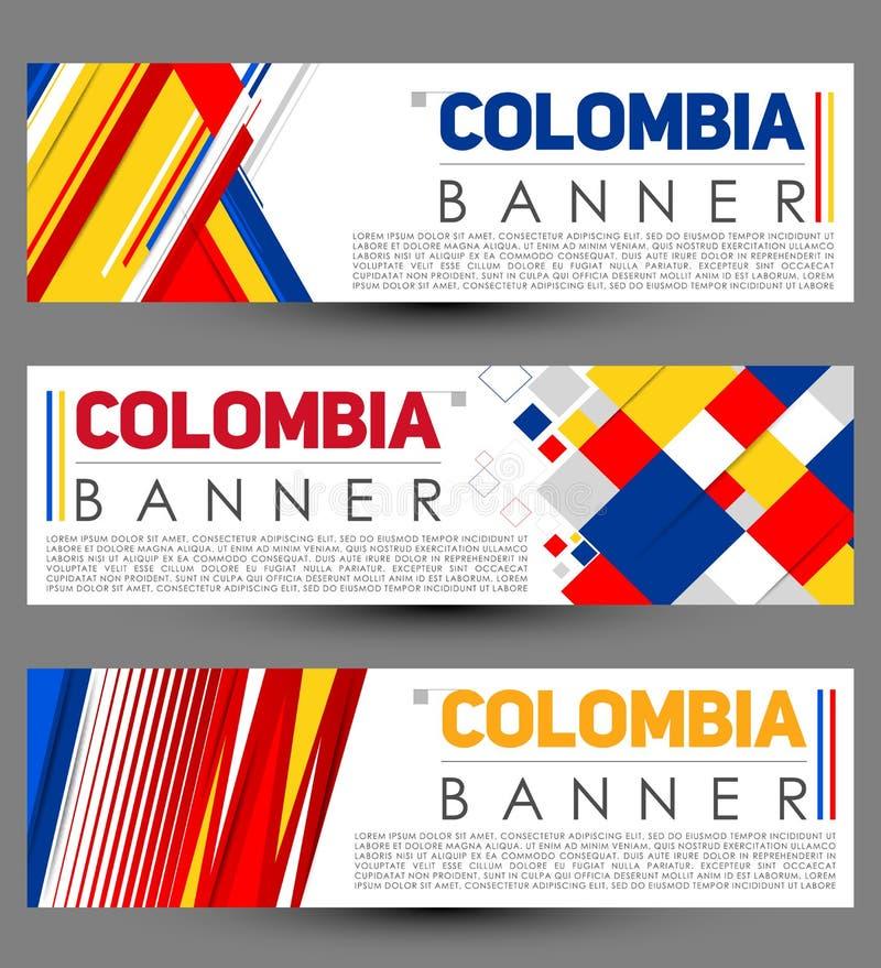 Вектора шаблона знамени Колумбии дизайн современного установленный иллюстрация штока